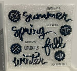 CTMH FOR ALL SEASONS Scrapbook Summer Fall Winter Rubber Stamps Set