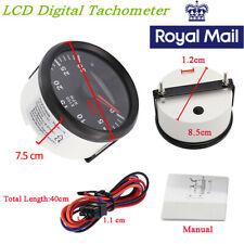 Waterproof Car 85mm Red Backlight LCD Digital Tachometer 300RPM Hourmeter Gauge