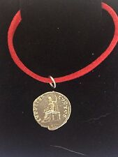 "Denarius Of Nero Pewter Coin WC21 Made From Pewter On 18"" Red Cord Necklace"