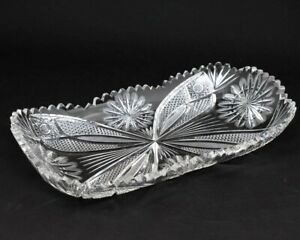 """ABP American Brilliant Cut Crystal 14"""" Serving Tray Glass Dish Butterfly Wings"""