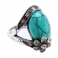 Charming Vintage tibet Silver flower turquoise Rings Female Jewelry Size 10