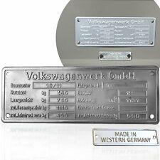 1945 - 1952 VW Volkswagen VIN Name ID Plate & Western Germany Tag Split Beetle