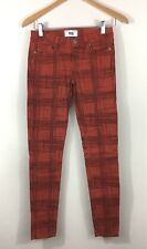 Paige Verdugo Ultra Skinny Low Rise British Red Plaid Jeans Size 26