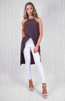 HIGH LOW ASYMMETRICAL CROSSOVER TOP IN BROWN