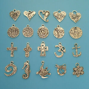 20 x Tibetan Silver Tone Hammered Charms Pendants for Necklace Bracelet Making