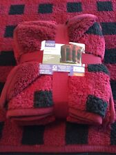 "Better Homes & Gardens Sherpa Throw Blanket 50"" x 60"" Red Plaid"