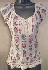 Boho* Floral Crochet Casual Cotton Top, Size 4, Dorothy Perkins