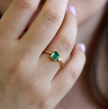 Radiant Cut 6x4 MM Green Moissanite Classic Engagement Ring 10k Rose Gold Over 7
