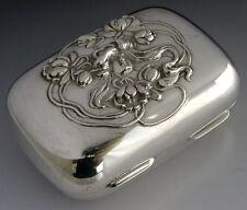 STUNNING AMERICAN ART NOUVEAU STERLING SILVER TRINKET SOAP BOX c1905 ANTIQUE