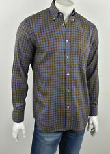 PAUL & SHARK YACHTING Brown & Blue Plaid Soft Cotton Twill Sport Shirt M