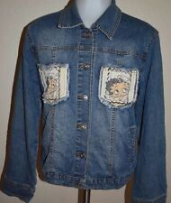 Womens Vintage Betty Boop Jean Jacket XL Denim Coat retro fray fringe