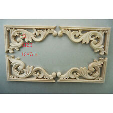 2X Exquisite Classic Rubber Wood Carved Applique Vintage Furniture Craft Decor