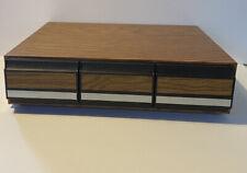 Vintage 3 Drawer 36 Audio Cassette Tape Storage Holder Case Faux Wood