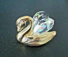 Vintage Spoontiques 1983 Gold Tone Pewter Swan Figurine w/Crystal Wings