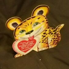 Vintage Usa Valentines Day Card Stand-Up Moving Die Cut - No Writing RefCard#