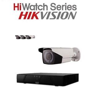 HiWatch 4Ch HD Video DVR 4 X THC-B220-V 2MP TVI 1080P Bullet CCTV IR 40m Camera