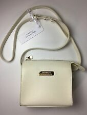 Authentic Versace Collection Saffiano Leather Small Crossbody Bag Chalk Ivory