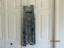 Cabi Womens Blue Black Multi Color Sleeveless Racer Back Stretch Dress SZ Small