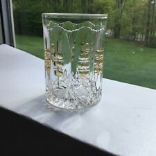 Clear Pressed Glass Tumbler With Amber Ovals
