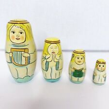 Vintage Russian Nesting Dolls Singing Angels With Harp