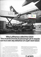 LUFTHANSA GERMAN AIRLINES AIRBUS A300 1977 MOST ECONOMICAL AD