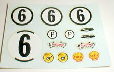 (1) Decal Sheet of Jim Hall Chevy Chaparral #6 Water Slide slot car Original NOS