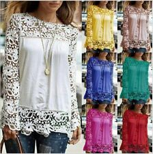 Hip Length Lace Crew Neck Floral Tops & Shirts for Women