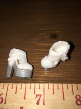 Barbie White & Silver Tassel Ankle Boots Hearts High Heels Fashion Glam Shoes