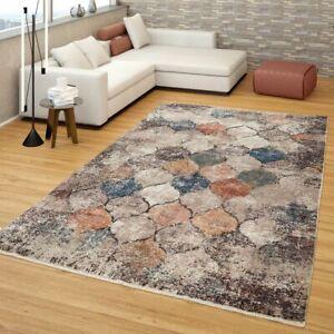 Orient Teppich Bunt Beige Marokkanisches Design Used Look Vintage Kurzflor