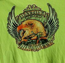 2012 Daytona Beach Bike Week Long Sleeve T Shirt Sz - XL Visibility Green/Yellow