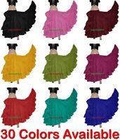30 COLOR | Women Cotton Gypsy 25 Yard Skirt 4 Tier Tribal Belly Dance ATS JUPE