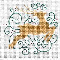 "Needlepoint Handpainted Amanda Lawford CHRISTMAS ORNAMENT White Reindeer 4"""