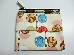 Le Sportsac Make-Up, Cosmetic Pouch with Tissue Holder - Brown, Beige, Dots