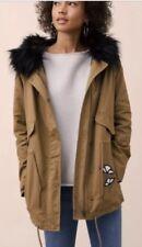 NWT LOFT SZ L EMBROIDERED PARKA Olive Khaki FLORAL JACKET Fur Removable $148