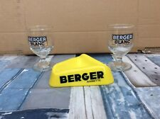 Vintage French Berger Blanc Ashtray And 2 Glasses Breweriana