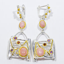ARTISAN CRAFTED NATURAL PINK PERUVIAN OPAL EARRINGS .925 STERLING SILVER 2-TONE