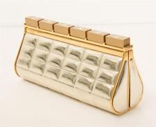 CHANEL Patent Leather GOLD BAR Silver LOGO Mini Clutch Bag Handbag RARE