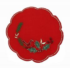 """Evergreen Embroidered Christmas Table Linen - 5"""" Round Doiley"""