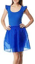 BETSEY JOHNSON Rib Tank Top Pocket Silk Organza Flutter Tutu Skirt Tulle Dress S