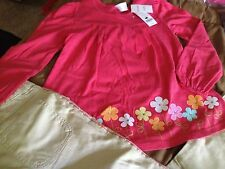 NWT~GYMBOREE~SPRING RAINBOW~10~PANTS~BOTTOMS~TAN~FLOWERS~SHIRT~CORAL~OUTFIT