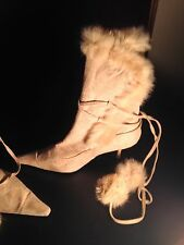 NEW Rabbit/Suede Camel tan heeled boots (Size 8)