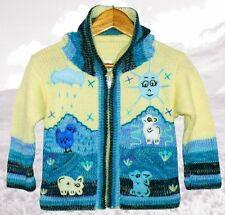 Strickjacke weiß+türkis Blau,Gr.80*86,Kapuze,Sonne+Tiere,Inka, Kinder Peru Jacke