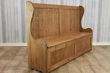 RUSTIC PINE HALL BENCH SETTLE WITH STORAGE HIGH BACK HANDMADE IN GREAT BRITAIN