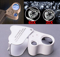 2in1 60X 30X Magnifier Loop Magnifying Glass Jeweler Eye Loupe Lens & LED Light