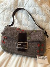 Fendi Knit Wool Baguette Shoulder Bag