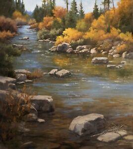 Linda Glover Gooch Autumn Whisper Montana Landscape Original Oil Painting 30x27