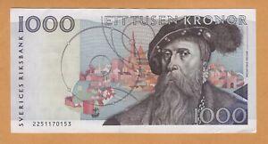SWEDEN 1000 Kronor aUNC 1992 P-60a Banknotes