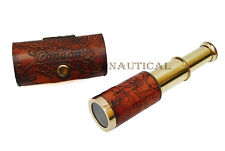 6'' Brass Telescop Nautical Dollond London Spyglass w Leather Case Item For Gift