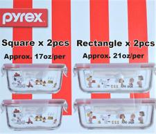 Pyrex Peanuts Snoopy 4 Glass Storage Set 500ml Square x 2 & 630ml Rectangle x 2