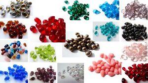 9 (mm) 10 (mm) CZECH GLASS TEARDROP/DROP BEADS - VARIOUS COLOURS/QUANTITIES